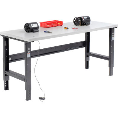 Global Industrial™ 72x30 Adjustable Height Workbench C-Channel Leg - ESD Square Edge Black