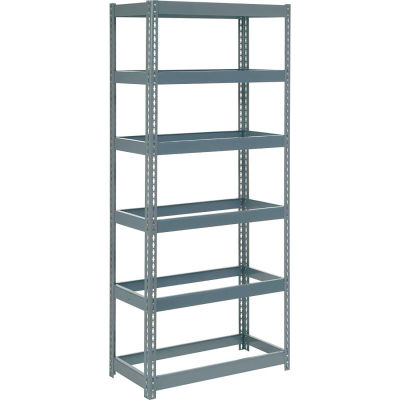 """Global Industrial™ Extra Heavy Duty Shelving 36""""W x 18""""D x 96""""H With 6 Shelves, No Deck, Gray"""