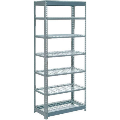 """Global Industrial™ Heavy Duty Shelving 36""""W x 24""""D x 96""""H With 7 Shelves - Wire Deck - Gray"""