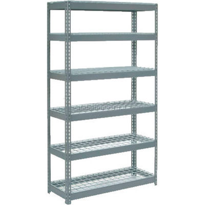 "Global Industrial™ Extra Heavy Duty Shelving 48""W x 24""D x 84""H With 6 Shelves, Wire Deck, Gry"