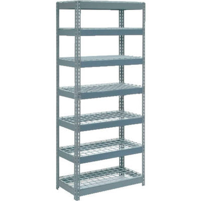 "Global Industrial™ Extra Heavy Duty Shelving 36""W x 12""D x 96""H With 7 Shelves, Wire Deck, Gry"