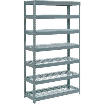 "Global Industrial™ Extra Heavy Duty Shelving 48""W x 12""D x 96""H With 7 Shelves, Wire Deck, Gry"