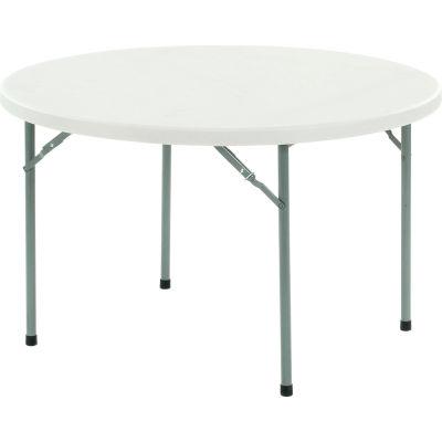 "Interion® Round Plastic Folding Table - 48"" - White"