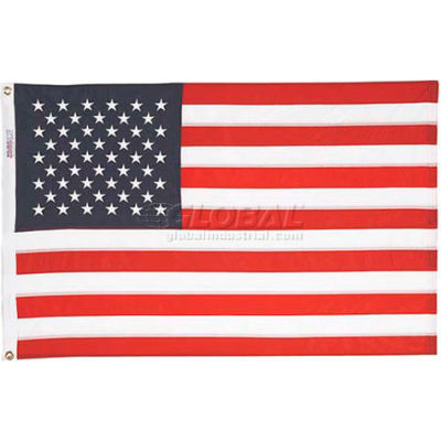 8' x 12' Nyl-Glo US Flag with Embroidered Stars & Lock Stitching