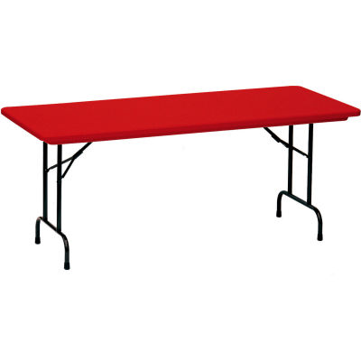 """Correll Folding Table - Blow Molded - 30"""" x 72"""", Red"""