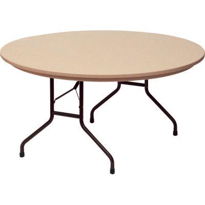 "Correll Folding Table - Blow Molded - 60"" Round, Mocha Granite"