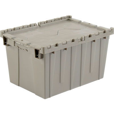 "Global Industrial™ Plastic Shipping/Storage Tote W/ Attached Lid, 21-7/8""x15-1/4""x12-7/8"",Gray"