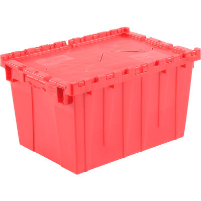 """Global Industrial™, Hinged Lid Plastic Shipping & Storage Tote, Red, 21-7/8""""x 15-1/4""""x 12-7/8"""""""
