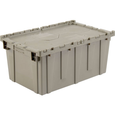 Global Industrial™ Plastic Attached Lid Shipping & Storage Container 27-3/16x16-5/8x12-1/2 GRY