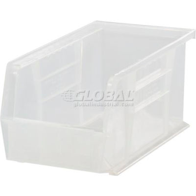 Plastic Stack and Hang Parts Storage Bin 4-1/8 x 10-7/8 x 4 Clear - Pkg Qty 12