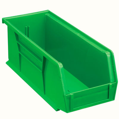 Global Industrial™ Plastic Stack and Hang Parts Storage Bin 4-1/8 x 10-7/8 x 4, Green - Pkg Qty 12