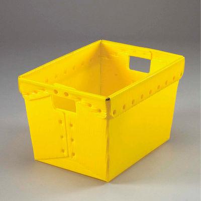 Global Industrial™ Corrugated Plastic Totes - Postal Nesting- No Lid 18-1/2x13-1/4x12 Yellow - Pkg Qty 10