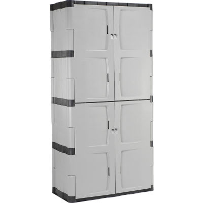 """Rubbermaid® Plastic Storage Cabinet With Full Double Doors, 36""""W x 18""""D x 72""""H"""