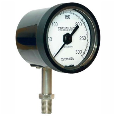 """Perma-Cal 123NID27A21, 2.5"""" Dial, 0-30 psi, 1/4"""" NPT, Bottom Mount, SS Connection, BLK No Flange"""