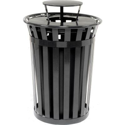 Global Industrial™ Outdoor Slatted Steel Trash Can With Rain Bonnet Lid, 36 Gallon, Black