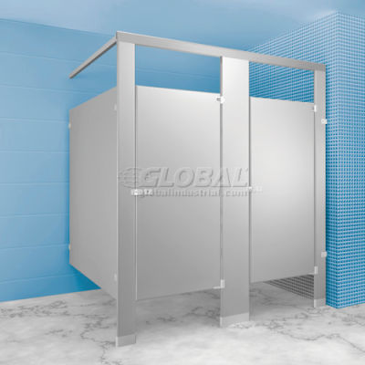 """Stainless Steel Bathroom Partition Complete 2 In-Corner Compartment 72"""" Wide"""