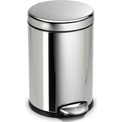 simplehuman® Mini Round Step Can - 1-1/5 Gallon Polished SS