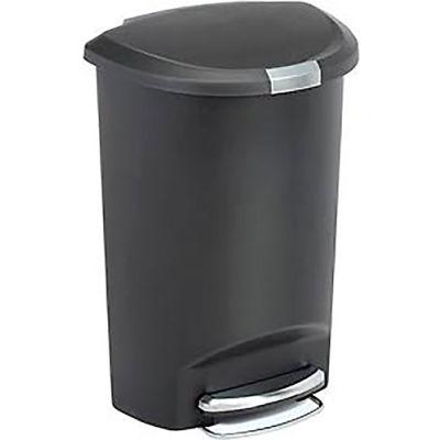simplehuman® Semi Round Plastic Step Can - 13 Gallon Black