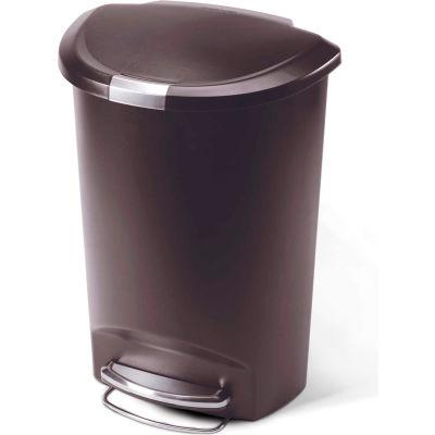 simplehuman® Semi Round Plastic Step Can - 13 Gallon Mocha