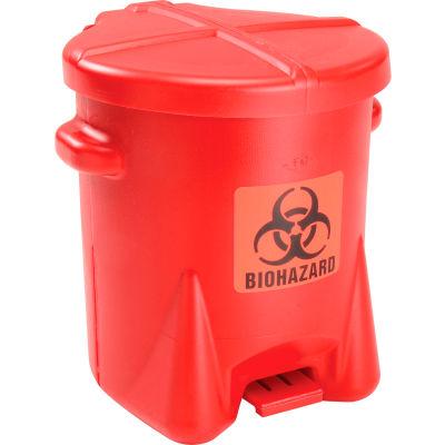 Eagle 6 Gallon Poly Safety Biohazardous Waste Can, Red - 943BIO