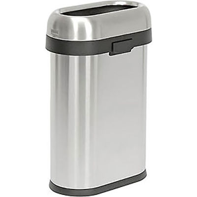 Simplehuman® Stainless Steel Slim Oval Open Top Trash Can, 13 Gallon