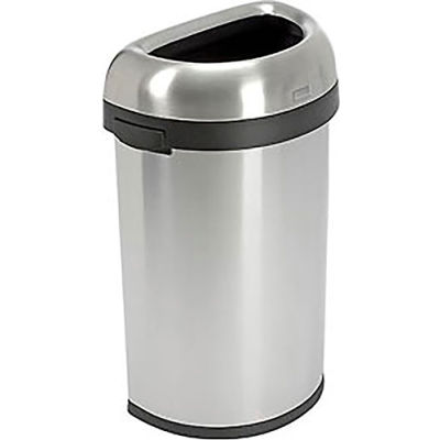 Simplehuman® Stainless Steel Semi-Round Open Top Trash Can, 16 Gallon