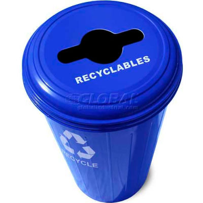 Round Steel Blue Recycling Container With Combo Lid - 20 Gallon Capacity - 10/1CTDB