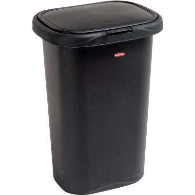 Rubbermaid® Liner Lock™ Spring Top™ Wastebasket 5l58 52 Qt, Black