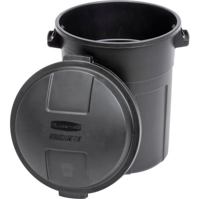 Rubbermaid® Plastic Round Trash Can With Dual Handles, 20 Gallon, Black
