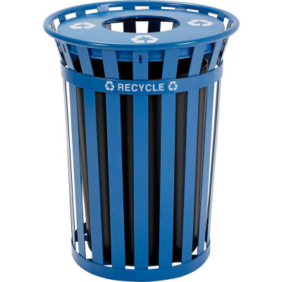 Global Industrial™ Recycling Can w/Flat Lid, 36 Gallon, Blue