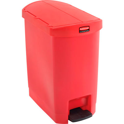 Rubbermaid® Slim Jim® 1883565 Plastic Step On Container, End Step 8 Gallon - Red