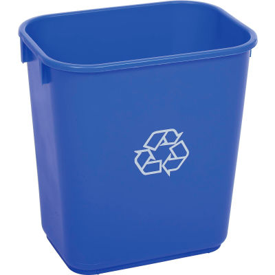 Global Industrial Deskside Recycling Wastebasket, 13-5/8 Quart, Blue