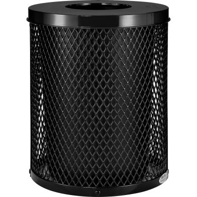 Global Industrial™ Outdoor Diamond Steel Trash Can With Flat Lid, 36 Gallon, Black