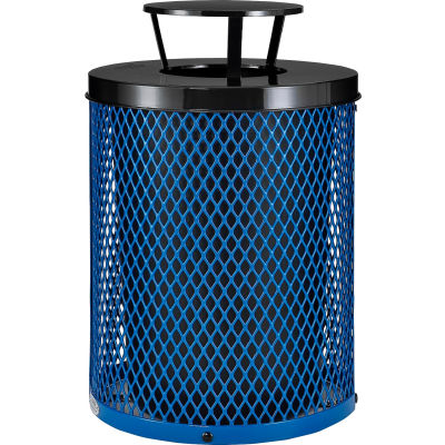 Global Industrial™ Outdoor Diamond Steel Trash Can With Rain Bonnet Lid, 36 Gallon, Blue