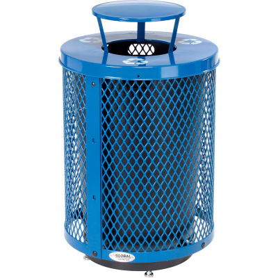 Global Industrial™ Deluxe Thermoplastic 32 Gal Mesh Recycling Receptacle, Rain Bonnet & Base BL