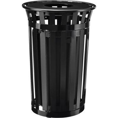 Global Industrial™ Outdoor Steel Slatted Trash Can W/Access Door & Flat Lid, 36 Gallon, Black
