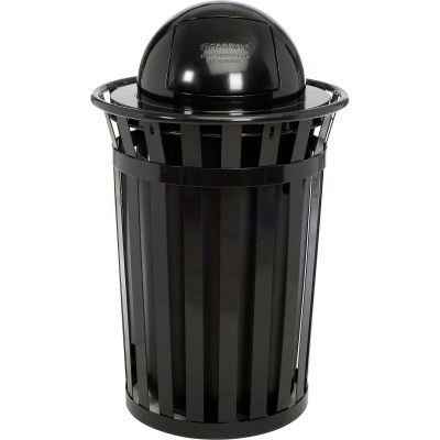 Global Industrial™ Outdoor Metal Slatted Trash Receptacle With Dome Lid, 36 Gallon, Black