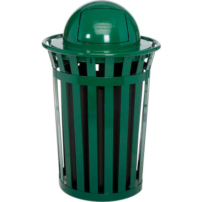 Global Industrial™ Outdoor Steel Slatted Trash Can With Dome Lid, 36 Gallon, Green