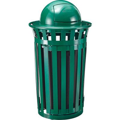Global Industrial™ Outdoor Slatted Steel Trash Can W/Access Door & Dome Lid, 36 Gallon, Green