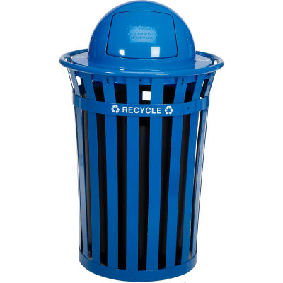 Global Industrial™ Recycling Can w/Dome Lid, 36 Gallon, Blue