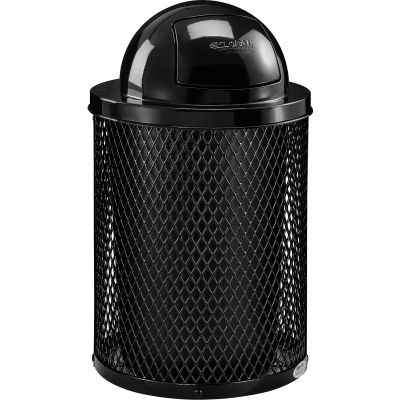 Global Industrial™ Thermoplastic Coated 32 Gallon Mesh Receptacle w/Dome Lid - Black