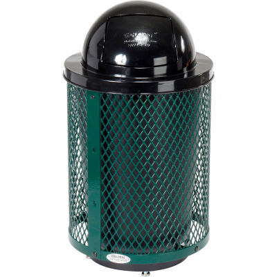Global Industrial™ Deluxe Thermoplastic 32 Gallon Mesh Receptacle w/Dome Lid & Base - Green