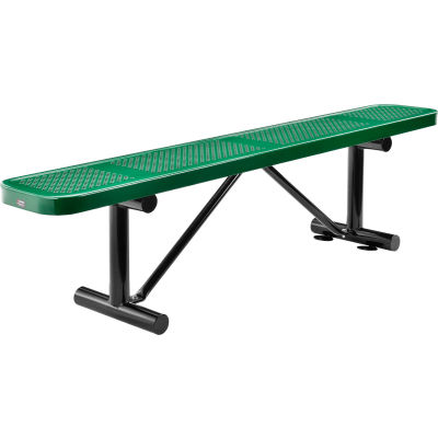 Global Industrial™ 6 ft. Outdoor Steel Flat Bench - Perforated Metal - Green