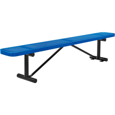 Global Industrial™ 8 ft. Outdoor Steel Flat Bench - Perforated Metal - Blue
