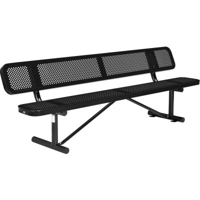 Global Industrial™ 8 ft. Outdoor Steel Picnic Bench with Backrest - Perforated Metal - Black