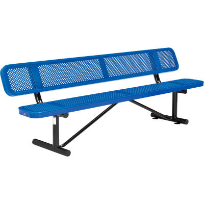 Global Industrial™ 8 ft. Outdoor Steel Picnic Bench with Backrest - Perforated Metal - Blue