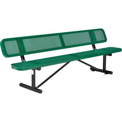 Global Industrial™ 8 ft. Outdoor Steel Picnic Bench with Backrest - Perforated Metal - Green