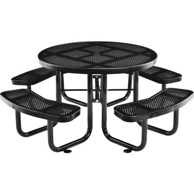 """Global Industrial™ 46"""" Round Outdoor Steel Picnic Table, Perforated Metal, Black"""