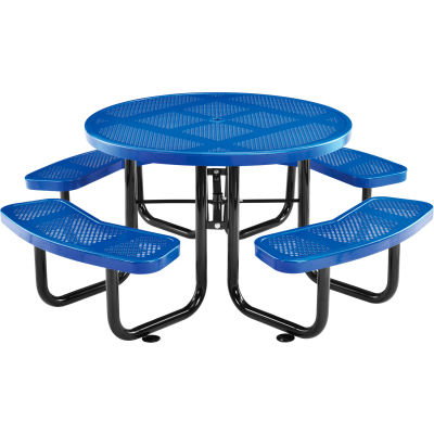 "Global Industrial™ 46"" Round Outdoor Steel Picnic Table, Perforated Metal, Blue"
