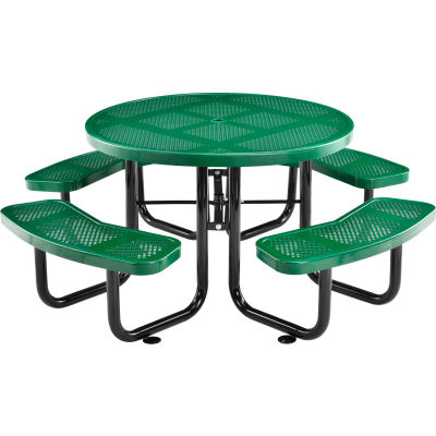 "Global Industrial™ 46"" Round Outdoor Steel Picnic Table, Perforated Metal, Green"
